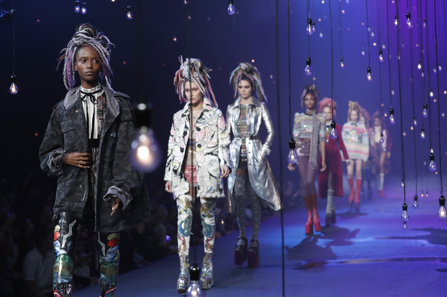 """FILE - In this Sept. 15, 2016, file photo, the Marc Jacobs Spring 2017 collection is modeled during Fashion Week in New York. Jacobs was criticized for showcasing white models in dreadlocks during the show. A screengrab showed Jacobs later responding on Instagram that he doesn't see color or race. In a separate post on Sunday, Sept. 18, 2016, Jacobs said he was sorry for """"the lack of sensitivity"""" in responding to critics. (Mary Altaffer, File/Associated Press)."""