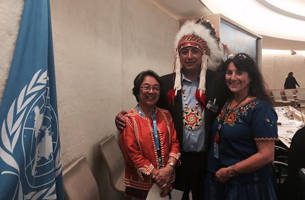 Standing Rock Sioux Tribal Chairman Dave Archambault II, flanked by (left) United Nations Special Rapporteur on the Rights of Indigenous Peoples Victoria Tauli-Corpuz and Andrea Carmen, executive director of the International Indian Treaty Council, at the 33rd Session of the U.N. Human Rights Council in Geneva on September 20. Courtesy Standing Rock Sioux Tribe.