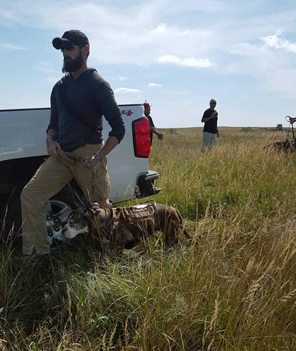 Dakota Access pipeline security personnel used dogs to try and stop the water protectors in an action that was streamed live on Facebook. (Photo: Courtesy Red Warrior Camp).