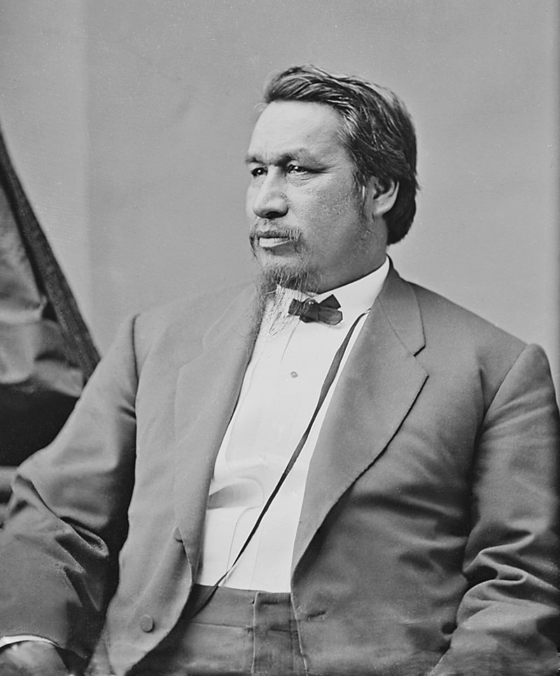 Ely S. Parker, a Seneca attorney, engineer, and tribal diplomat, wrote the final draft of the Confederate surrender terms. He later served as Commissioner of Indian Affairs, the first Native American to hold the post, under President Ulysses S. Grant. (Wikipedia/National Archives).
