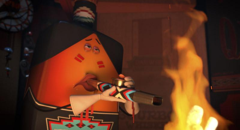 In Sausage Party, Firewater the Indian smokes marijuana from a kazoo. Sony Pictures.