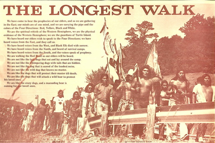 A poster from The Longest Walk, 1978. Several hundred American Indian activists and supporters marched for five months from San Francisco to Washington, D.C., to protest threats to tribal lands and water rights. (Courtesy Dennis Banks and Takeo Koshikawa/National Library of Medicine)