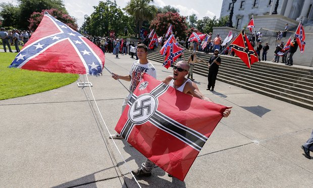 The alt-right movement – known for white supremacist views and its overtly racist ideology – has gained traction during the divisive US presidential race. Photograph: Erik S Lesser/EPA