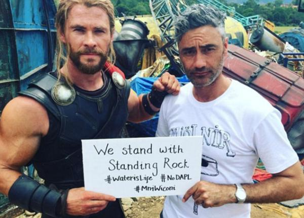 "Chris Hemsworth Facebook. Thor Ragnarok star Chris Hemsworth has just apologized for wearing a Native costume at a New Year's Eve Party and also stated he was ""Standing with Standing Rock."""