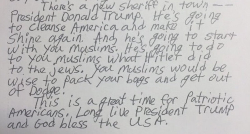 Letter sent to San Jose Islamic center -- Screenshot via Twitter.