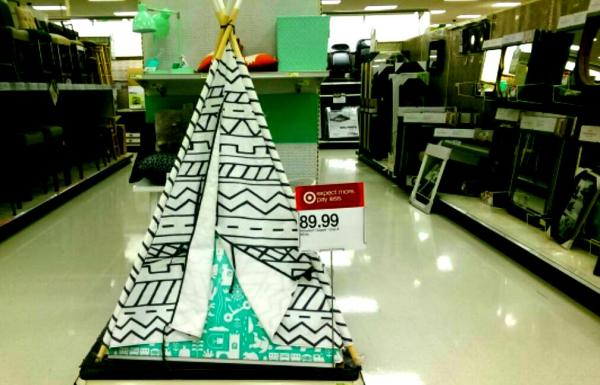 """Just in time for Thanksgiving and Christmas, Target is offering a gray and white """"Southwestern Teepee"""" (as described on the Target website) for the low price of $89.99. Daniel Boyko."""