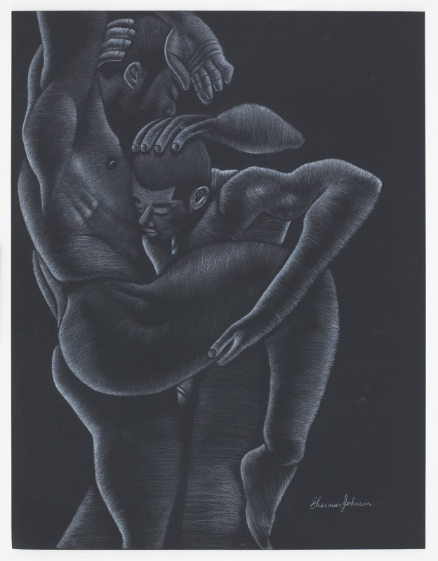 Lovers Lane, 2016, Sharmar Johnson White pencil Black paper, 22x28.