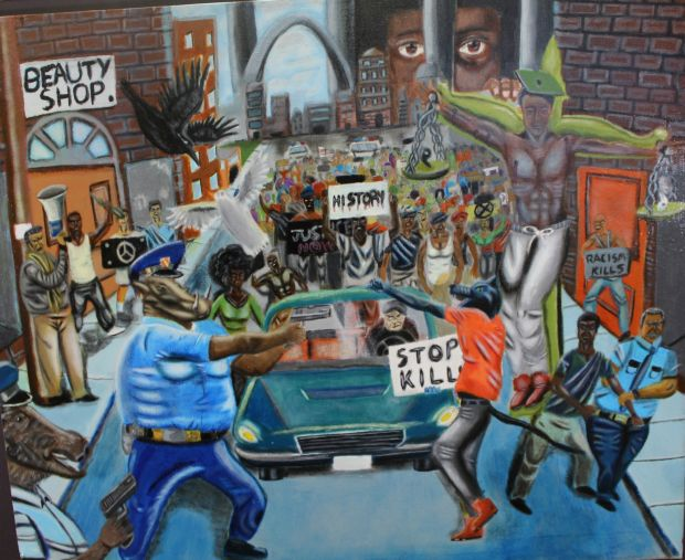"""David Pulphus's painting in response to the Ferguson unrest, """"Untitled #1"""", won first place in Missouri's 1st Congressional District in the 2016 United States Congressional Art Competition."""