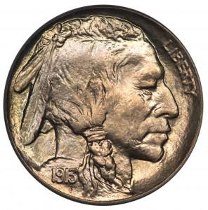 A 1913 F 'Liberty' Indian Head Nickel.