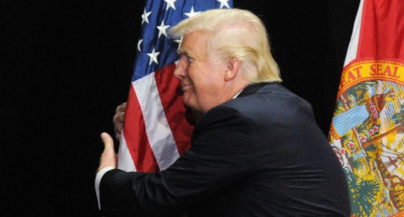 Trump humps flag. Twitter.