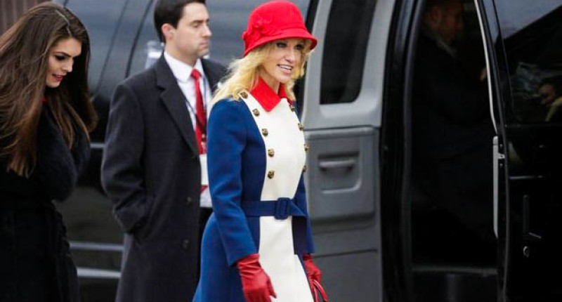 Kellyanne Conway attends President Trump's inauguration (Screen cap).