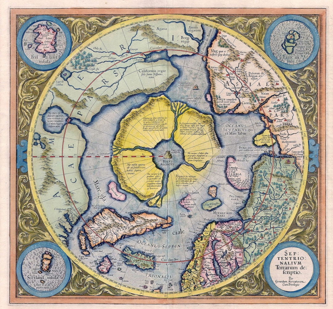 """Map of the Arctic by Gerardus Mercator (first printed 1595, edition from 1623), with the mythical """"Rupes Nigra"""" magnetic black rock at the North Pole."""