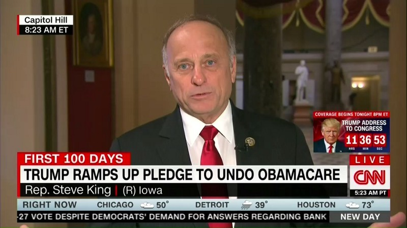 "Rep. Steve King (R-IA) wants to ensure that no part of Obamacare is ""left behind."" CREDIT: CNN."