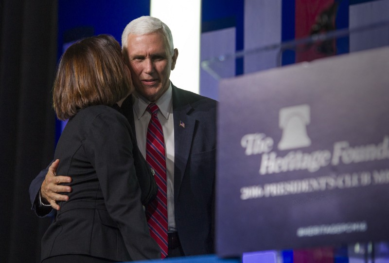Vice President Mike Pence speaking at the Heritage Foundation's President's Club Meeting in December. CREDIT: AP Photo/Cliff Owen.