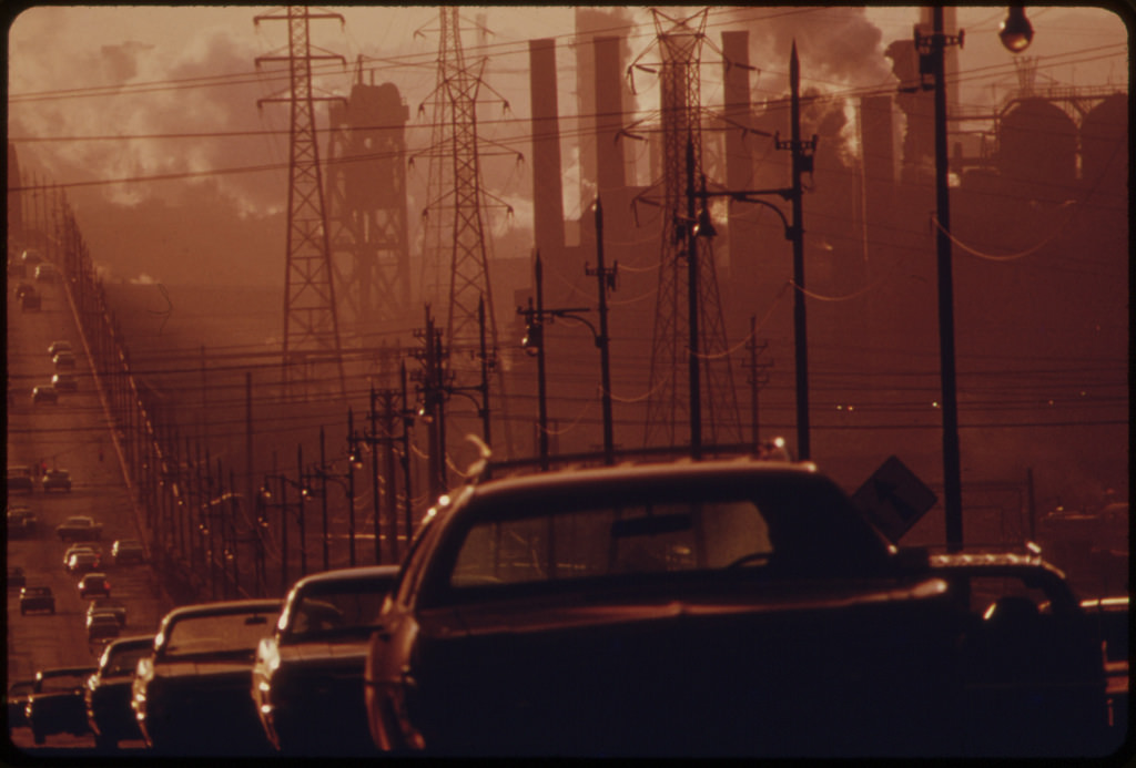 Clark Avenue and Clark Avenue Bridge. Looking East from West 13th Street, Are Obscured by Smoke from Heavy Industry, 07/1973.