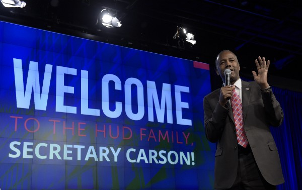 Housing a Urban Development Secretary Ben Carson speaks to HUD employees in Washington on Monday. CREDIT: AP Photo/Susan Walsh,
