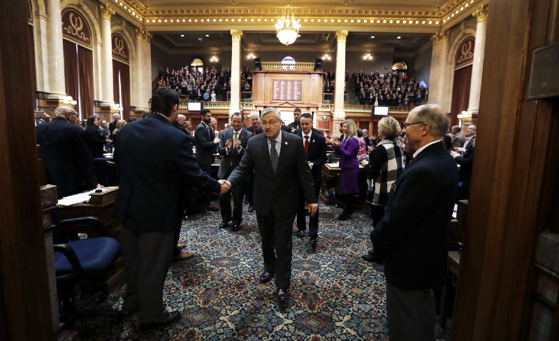 Iowa Gov. Terry Branstad (R) in the state legislature. CREDIT: AP Photo/Charlie Neibergall.