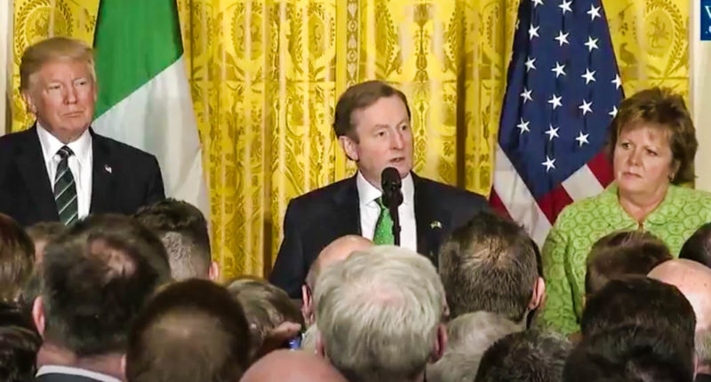 Irish Prime Minister Enda Kinney talks about immigration at the White House (Screen cap).