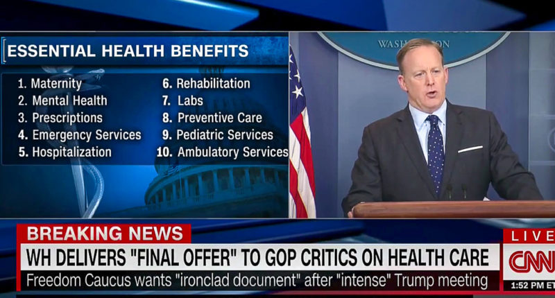Sean Spicer speaks about health care benefits (CNN/screen grab).