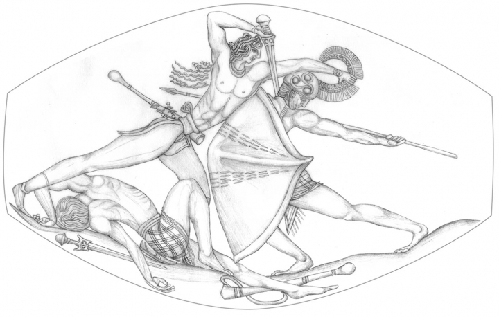 Drawing of the detailed combat scene captured on an agate sealstone discovered by the University of Cincinnatis Sharon Stocker and Jack Davis. (images Courtesy Department of Classics, University of Cincinnati).