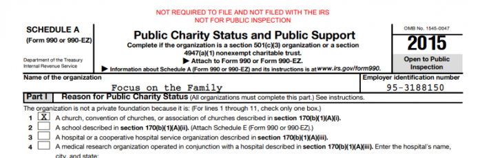 Focus on the Family has posted a tax return on its website that declares that it is a church, but has not filed the return with the government.