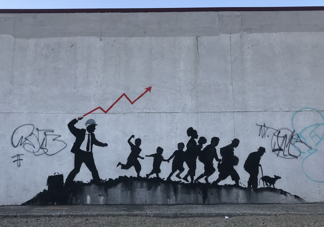 One of the new Banksy murals in Midwood, Brooklyn. Benjamin Sutton.
