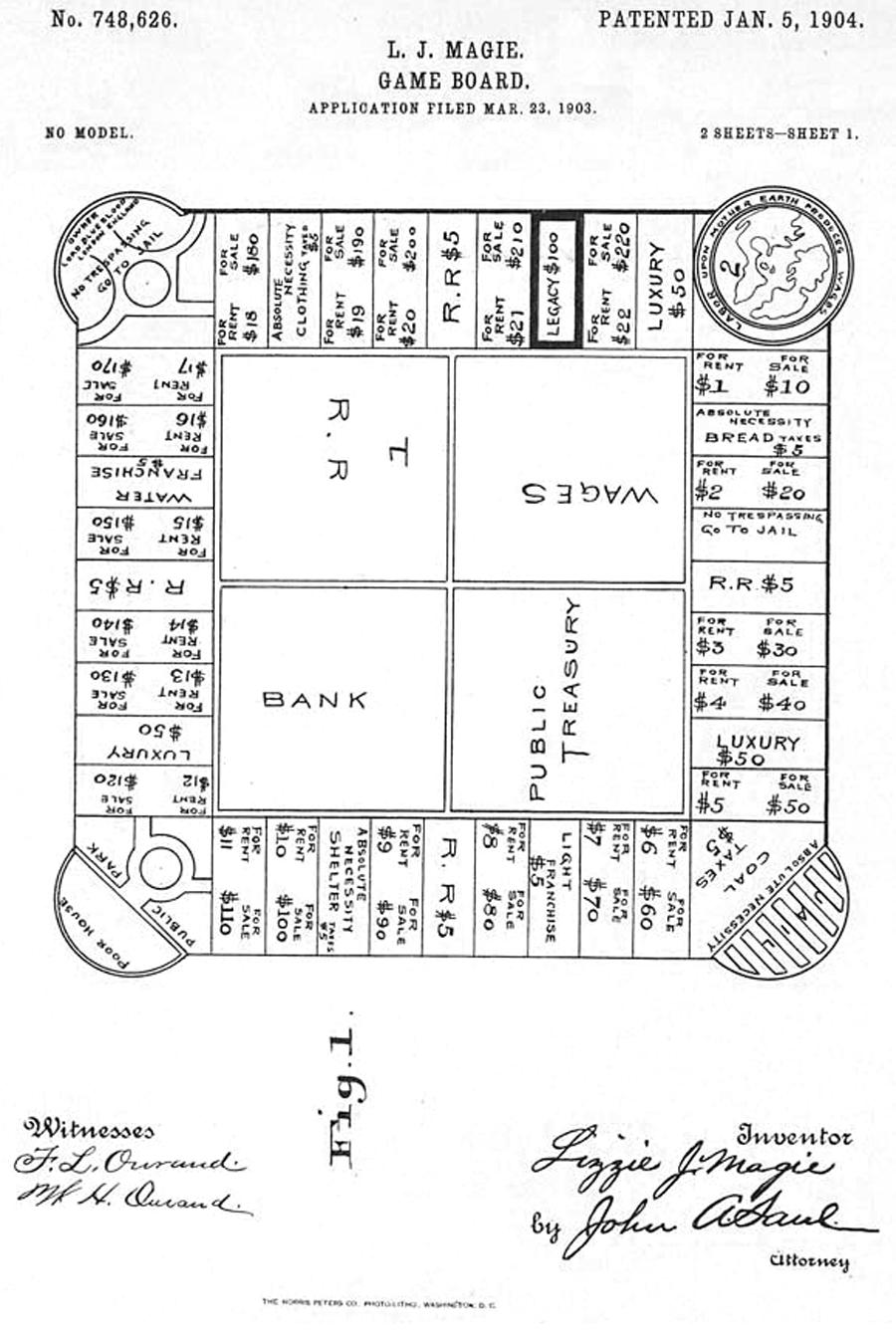 Elizabeth Magie's 1904 board design.