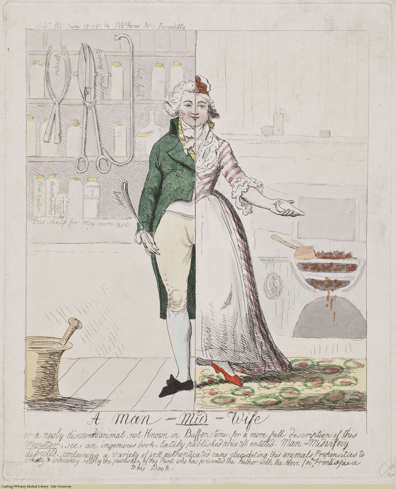 A Man Mid-Wife, Isaac Cruikshank, Etching coloured, 1793. Subject: John Blunt (pseud. S.W. Fores), Midwives, Surgical Instruments, Forceps.