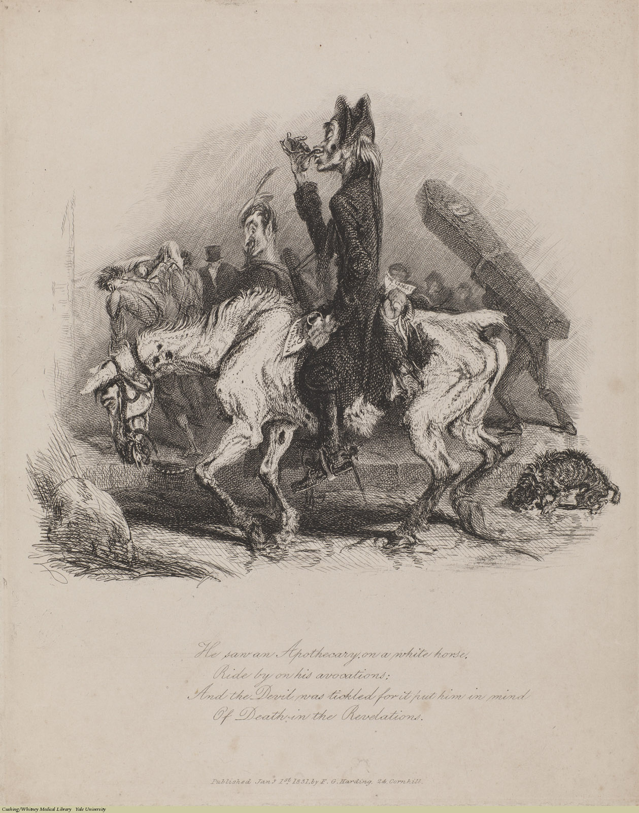 He saw an Apothecary on a white horse... Thomas Landseer, Etching, 1831. Subject: Obstetrics,Pharmacist, Devil, Snuff, The Lancet.