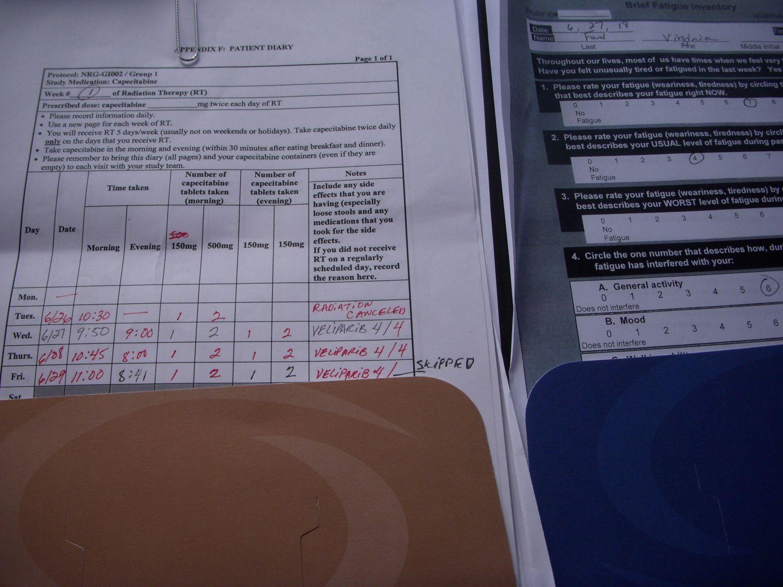 Oral chemo paperwork.
