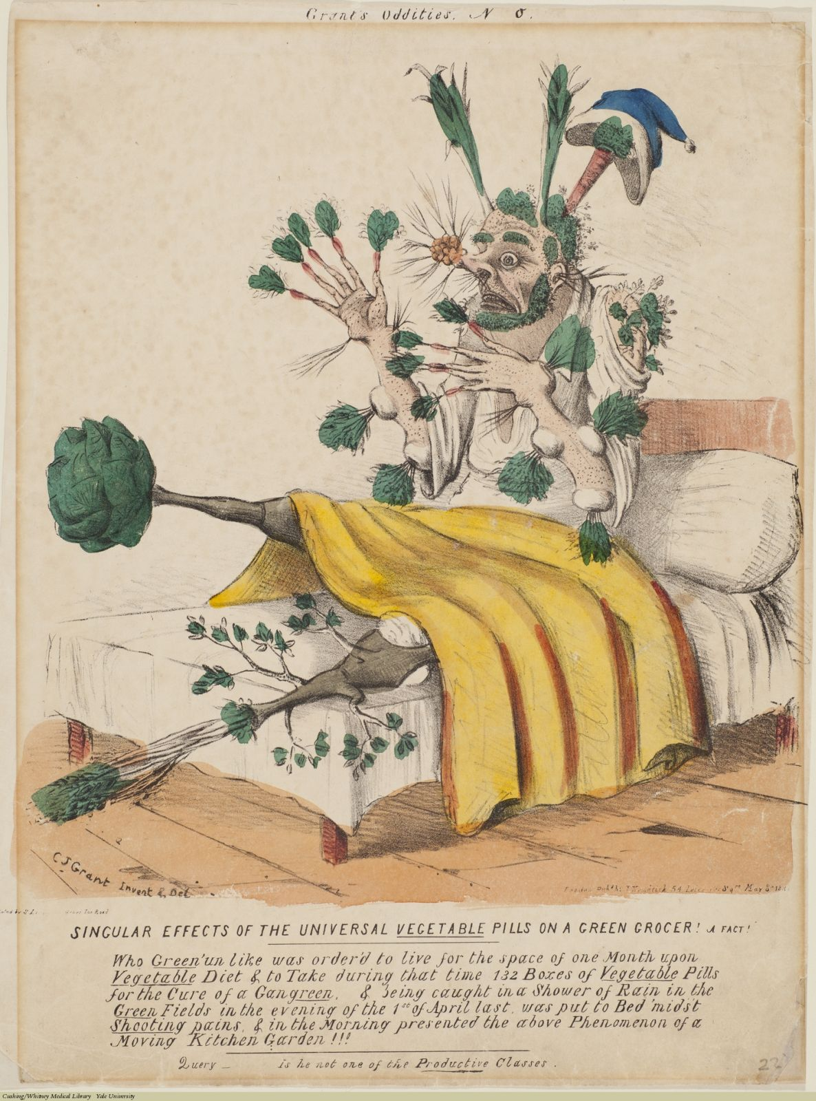 Singular Effects Of The Universal Vegetable Pills... Charles Jameson Grant, Lithograph coloured. Subject: Proprietary Medicines, James Morison, Morison's Pills, Vegetable compounds.