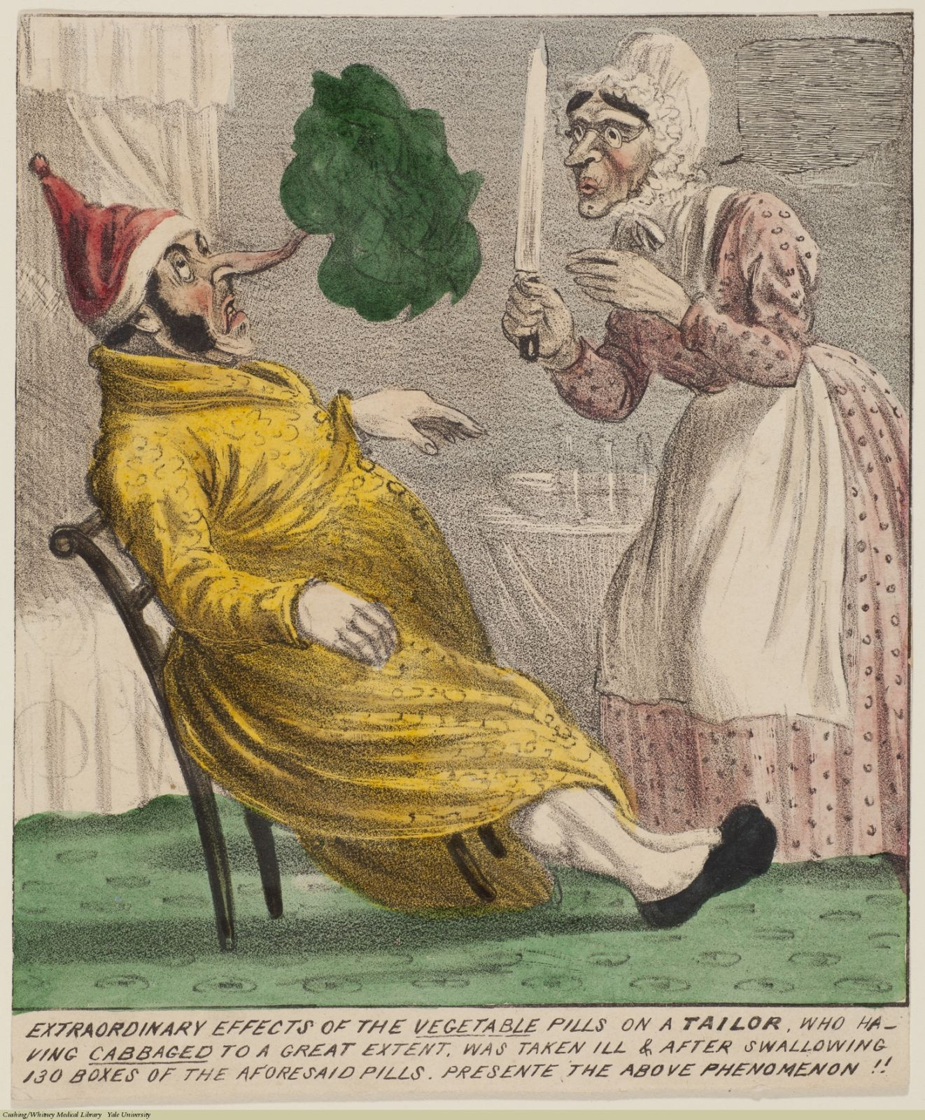 Extraordinary Effects Of The Vegetable Pills On A Tailor... Anonymous, Lithograph, coloured. Subject: Proprietary Remedies, James Morison, Morison's Pills.