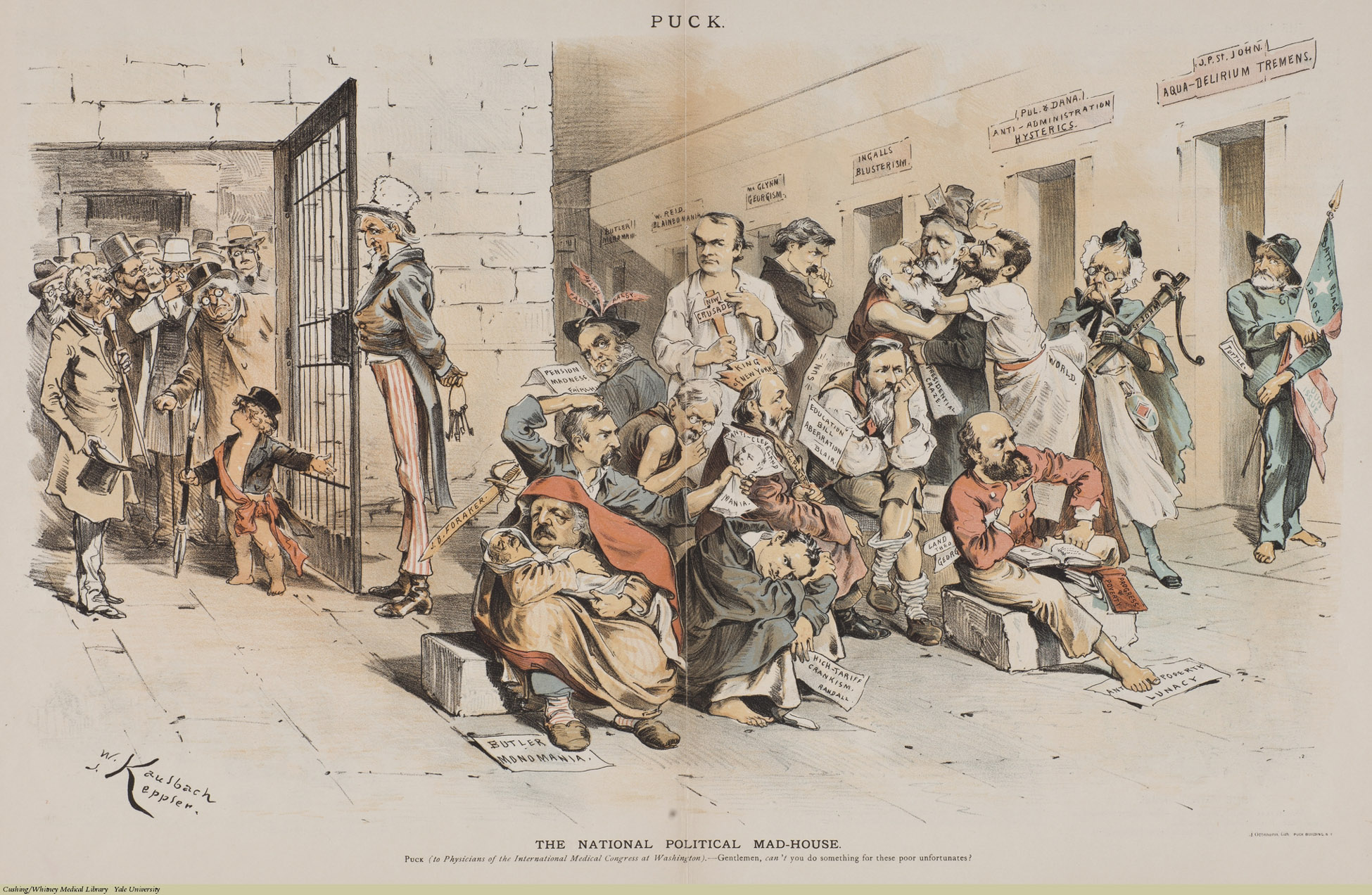 The National Political Mad-House. W. Kaulbauch and J. Keppler, Chromolithograph, 1887. Subject: U.S. Politics, Psychiatric Patients, Psychiatric Hospitals, Psychiatry, Uncle Sam.