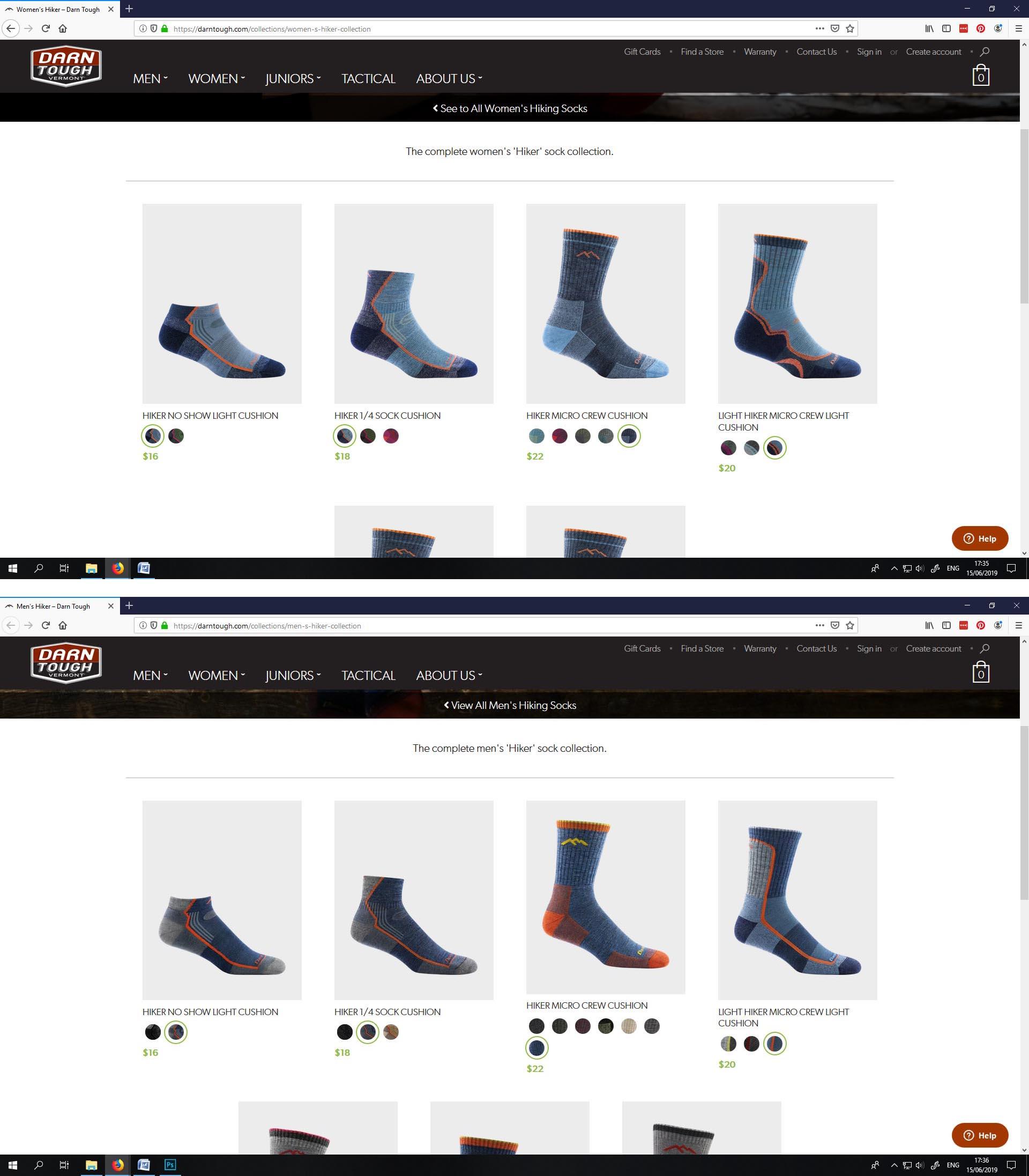 Women's hiking socks versus men's hiking socks. Now spot the difference!