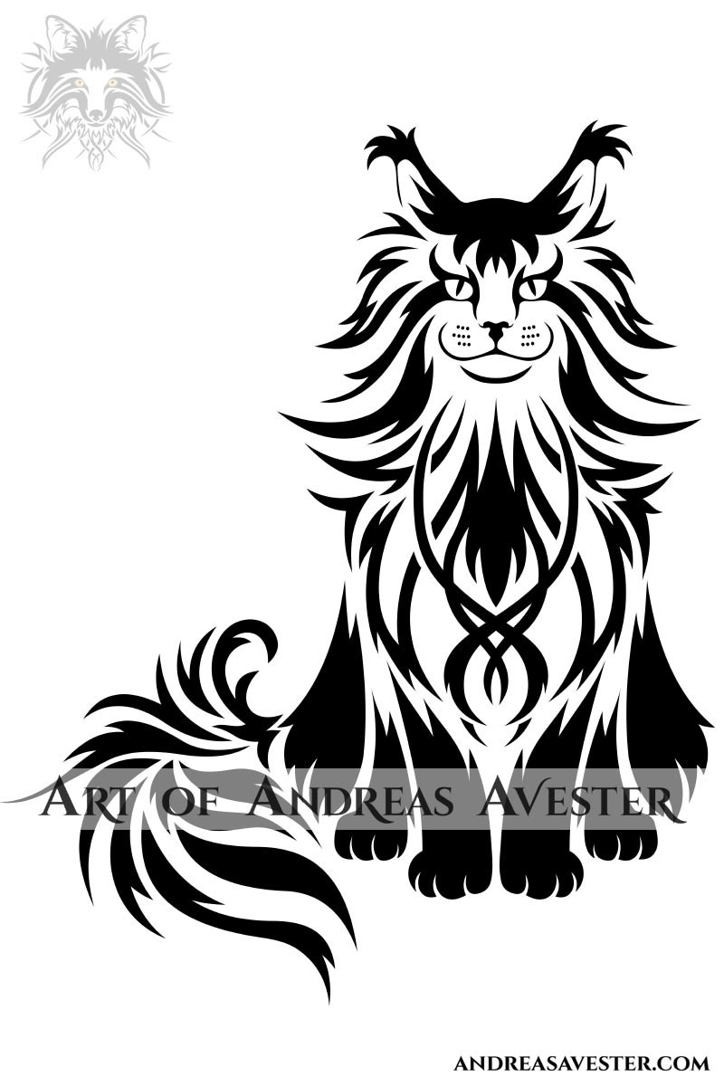 Maine Coon cat logotype tribal artwork