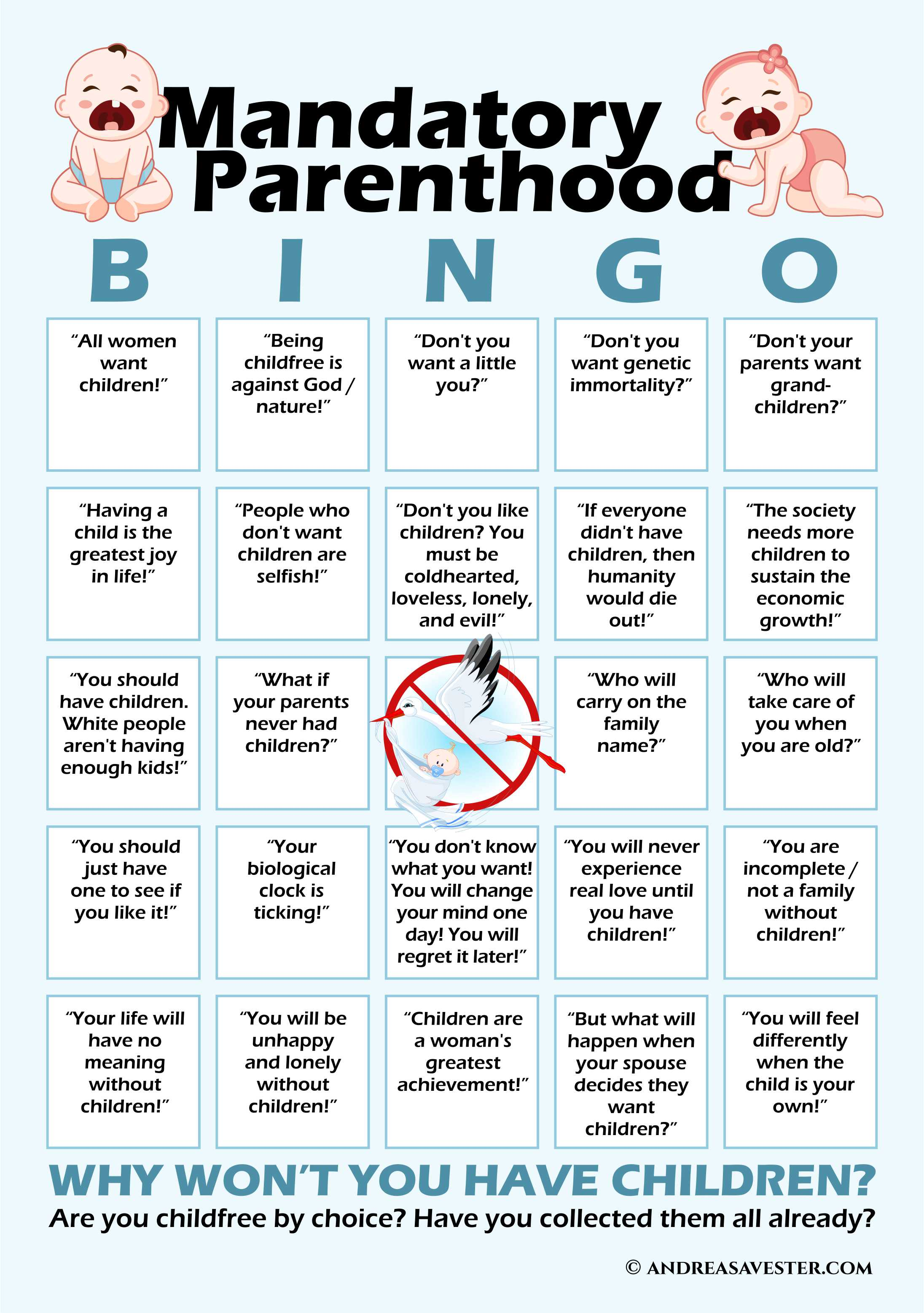 mandatory parenthood breeder childfree by choice bingo