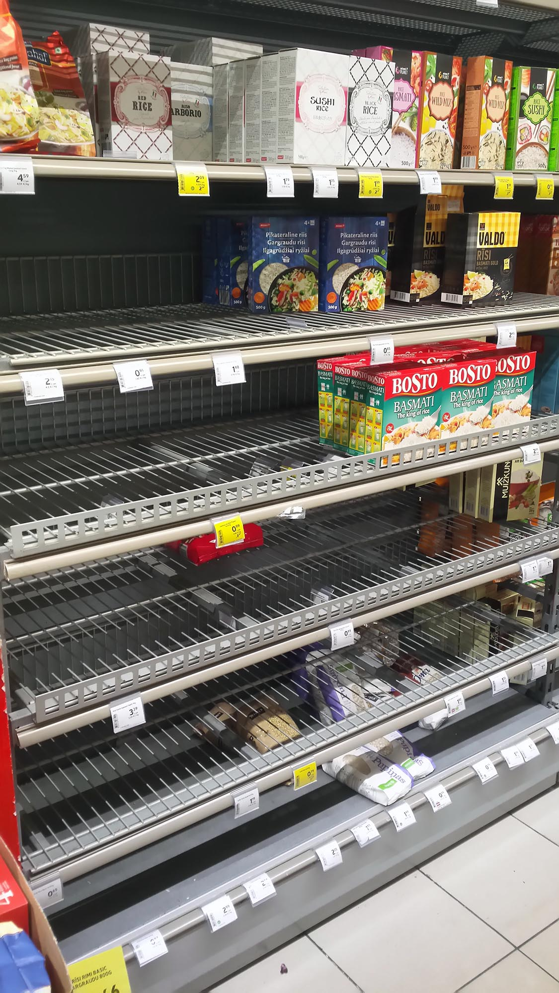 empty shop shelves
