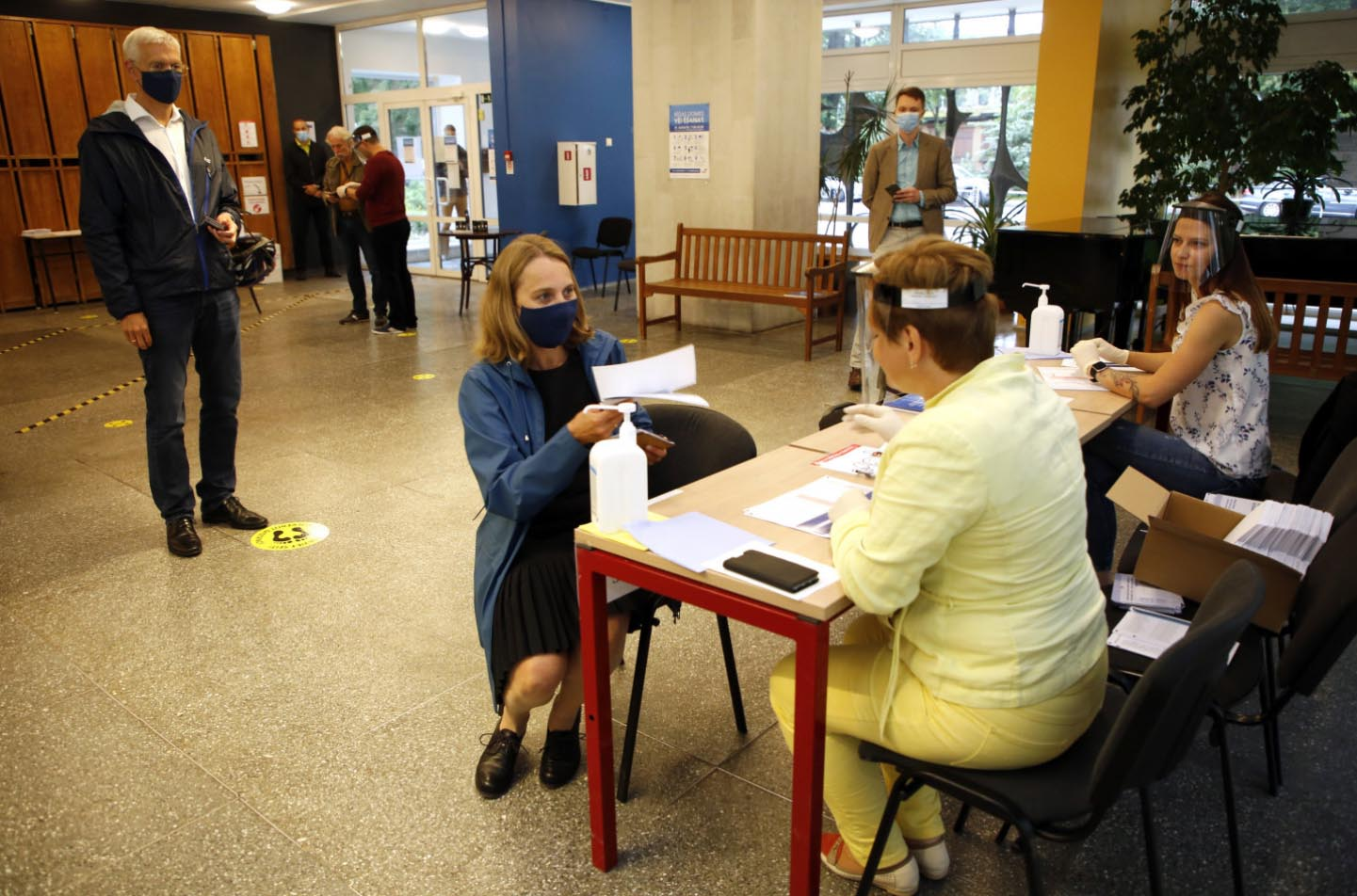 Inside a polling station.