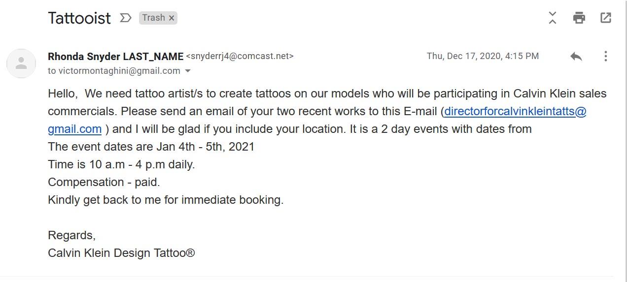Calvin Klein Design Tattoo® Scam
