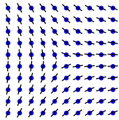 A 2-dimensional grid of atoms. At each site is a bar, which you can think of as a 2-headed arrow. A topological defect is at the center of the grid. This is hard to describe, sorry people relying on alt text.