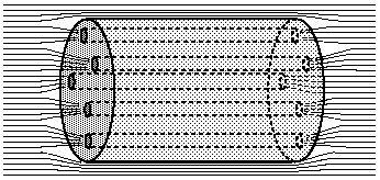 An image of a superconducting cylinder. When a magnetic field is applied, it is confined to thin tubes through the cylinder, referred to as vortices.