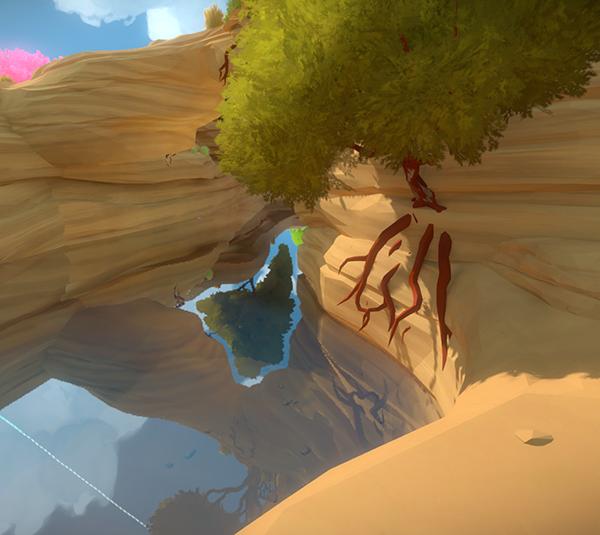 A tree's reflection seen through a land bridge