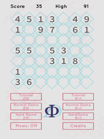 A screenshot of decodoku. There's a grid of diamonds, and some of the diamonds have digits in them.