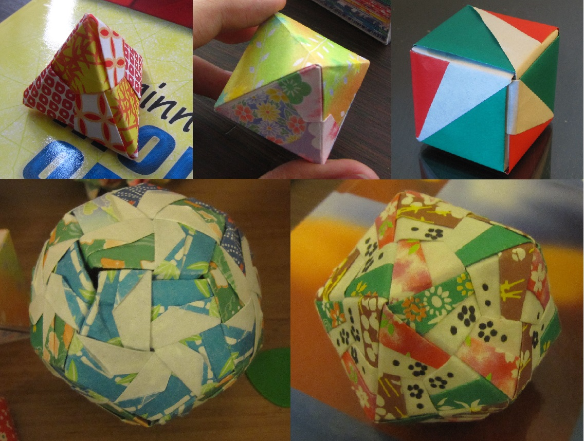 Photos of 5 origami models, one for each platonic solid
