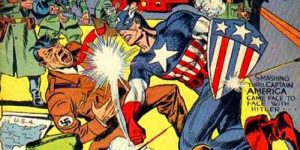 A picture of Captain America punching Hitler