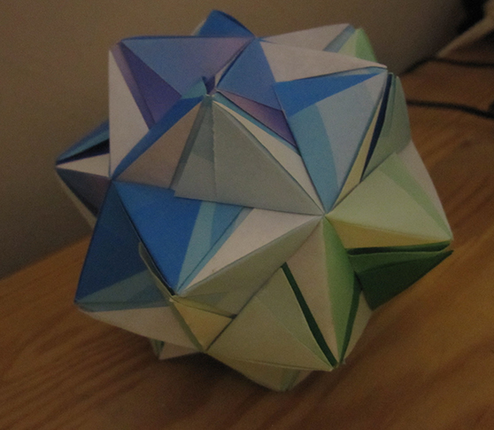 The Helica Kusudama is shaped like an icosahedron with a triangular pyramid on each face