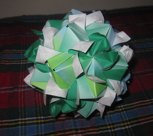 Bloomed Helica Kusudama, shown from other side.  One side is blue, this side is green.