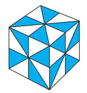 A cube. Each face of the cube has been divided into eight triangles.
