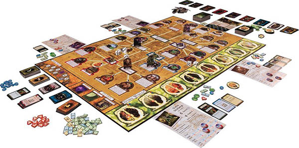 Photo of Arkham Horror. There are about 20 piles of cards and 5 piles of tokens, and each player has a bunch of different resources.