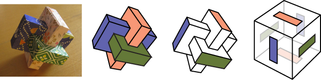A series of diagrams showing how the Umulius can be fit into a cube